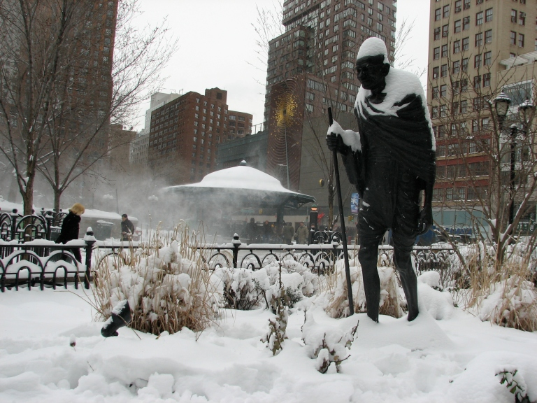Mahatma Gandhi in deep snowy New York