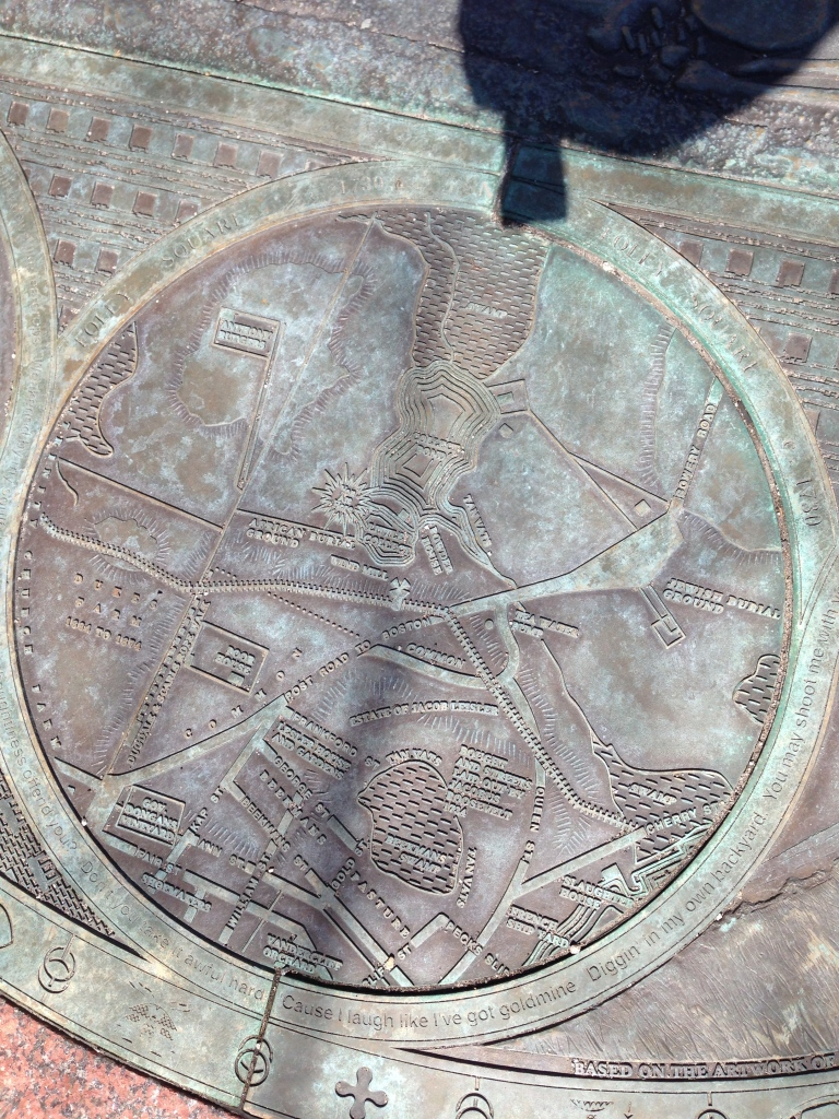 Metal engraving of early New York map showing first African Burial Ground and first Jewish Burial Ground in Manhattan