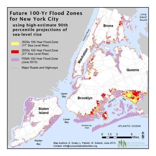 NYC Hundred Year Flood Plain Map