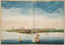 First Visual Depiction of Manhattan. Early 17th Century. Joan Vinckboons, Dutch.